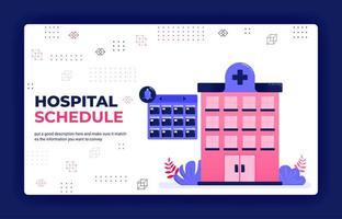målsida vektorillustration av schemaläggning av sjukhusbehandling, läkarbesök och patientbesök, sjukhusbokningar. kan användas för webbsajten mobila appar affisch flygblad bakgrund element mall vektor