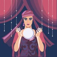 Illustration av Fortune Teller Woman Reading Framtida på Magical Crystal Ball
