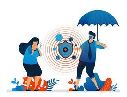 Vektor-Illustration des Gesundheitsschutzes und der finanziellen Sicherheit mit Versicherung, Ausbrüche der Covid-19-Pandemie. kann für Website, Web, mobile Apps, Flyer, Hintergrund, Element, Banner, Vorlage verwendet werden vektor
