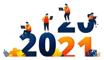 Neujahr 2020 bis 2021 mit dem Thema Büroangestellte ohne Urlaub. Das Vektorillustrationskonzept kann für Zielseite, Vorlage, Benutzeroberfläche, Web, mobile App, Poster, Banner, Website, Flyer verwendet werden vektor