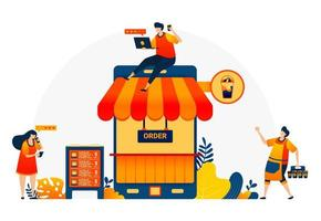 Illustration des Coffeeshops mit Telefon und Dach. Coffeeshop Metapher 4.0 mit Internet. Kaffee-Bar mobile Apps, um positive Bewertung zu kaufen. Vektor-Design-Vorlage für Web, Websites, Website, Banner, Flyer vektor