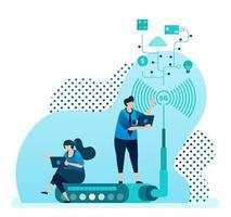 Vektor-Illustration für 5g Router und Technologie zur Erhöhung der Netzwerkgeschwindigkeit, Stabilität der WLAN-Internetverbindung. Design kann für Landing Page, Vorlage, UI UX, Web, Website, Banner, Flyer verwendet werden vektor