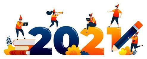 Countdown von 2020 bis 2021 mit dem Thema Bildung, Studium, Lernen. Das Vektorillustrationskonzept kann für Zielseite, Vorlage, Benutzeroberfläche, Web, mobile App, Poster, Banner, Website, Flyer verwendet werden vektor