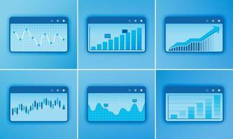 Buchhaltungssoftware Design Vektordiagramm mit Balkendiagramm, Liniendiagramm, Finanzdiagramm, Analyse. Designs können für Vorlagen, Printmedien, Broschüren, Ebenen, Karten, Websites, Zielseiten, Apps und das Web verwendet werden