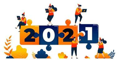 Neujahr 2020 bis 2021 mit dem Thema Puzzlespiel, Führung und Teamwork. Das Vektorillustrationskonzept kann für Zielseite, Vorlage, Benutzeroberfläche, Web, mobile App, Poster, Banner, Website, Flyer verwendet werden vektor