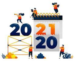 Countdown von 2020 bis 2021 mit dem Thema der Entfernung des Kalenders der letzten Jahre. Das Vektorillustrationskonzept kann für Zielseite, Vorlage, Benutzeroberfläche, Web, mobile App, Poster, Banner, Website, Flyer verwendet werden vektor
