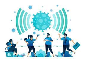 vektorillustration av social distansering och nya normala protokoll för arbete och aktiviteter under en pandemi. symbolikon för virus, radar, signal, nätverk och wifi av covid-19. målsida, webb, appar