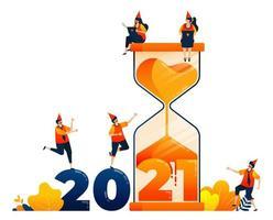 Countdown von 2020 bis 2021 mit dem Thema Sanduhr zur Selbstreflexion der Vergangenheit. Das Vektorillustrationskonzept kann für Zielseite, Vorlage, Benutzeroberfläche, Web, mobile App, Poster, Banner, Website, Flyer verwendet werden vektor