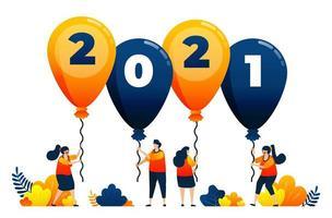 Countdown von 2020 bis 2021 mit dem Thema Luftballons für Partys und Karneval. Das Vektorillustrationskonzept kann für Zielseite, Vorlage, Benutzeroberfläche, Web, mobile App, Poster, Banner, Website, Flyer verwendet werden vektor