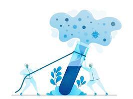 Vektorillustration der Forschung, um Virusheilmittel und Impfstoffe zu finden. Chemielabor für die Covid-19-Analyse. Kann für Zielseite, Website, Web, mobile Apps, Flyer-Banner, Vorlage, Poster verwendet werden vektor