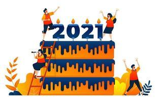 Countdown von 2020 bis 2021 mit Thema Neujahrsfeier Kuchen mit Kerze. Das Vektorillustrationskonzept kann für Zielseite, Vorlage, UIux, Web, mobile App, Poster, Banner, Website verwendet werden vektor
