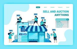 målsida för shopping och spendera pengar med e-handelsappar. ha din egen butik med e-handel. hitta rätt artikel med onlinebutik. grafisk formgivningsmall för webb, webbplatser, webbplats, banner, flygblad vektor