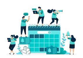 vektorillustration av dagordningen i kalendern. hantera tidsplaner för tidsplanering och planering av arbete. grupp kvinnor och män arbetare. designad för webbplats, webb, målsida, appar, ui ux, affisch, flygblad