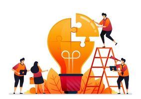 Vektor-Illustration von Problemen lösen und Lösungen mit Teamarbeit finden. Ideen mit Brainstorming teilen. Grafikdesign für Zielseite, Web, Website, mobile Apps, Banner, Vorlage, Poster, Flyer vektor