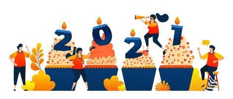 Countdown von 2020 bis 2021 mit dem Thema Cupcakes, um das neue Jahr mit Kerze zu feiern. Das Vektorillustrationskonzept kann für Zielseite, Vorlage, UIux, Web, mobile App, Poster, Banner, Website verwendet werden vektor