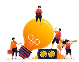Vektor-Illustration von Strom für Ideen und Inspiration. Glühbirnen-Symbol für die Beleuchtung. Grafikdesign für Zielseite, Web, Website, mobile Apps, Banner, Vorlage, Poster, Flyer