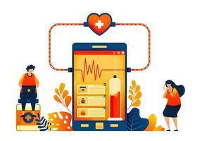 Online-Gesundheitscheck-Technologie. Verkauf von Medikamenten mit Patientenbewertungen. Vektor-Illustration Konzept kann verwendet werden für, Landing Page, Vorlage, UIux, Web, mobile App, Poster, Banner, Website, Flyer