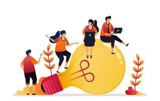 Vektor-Illustration von Idee und Inspiration, auf der Suche nach Problemlösung mit Brainstorming und Wissen. Grafikdesign für Zielseite, Web, Website, mobile Apps, Banner, Vorlage, Poster, Flyer