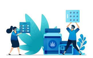 natürliches Marihuana für die Medizin. Verkauf von Marihuana für die Gesundheit. medizinische Rohkräuter für die Bildungsforschung. kann für Zielseiten, Websites, Web, mobile Apps, Flyer-Banner, Vorlagen und Poster verwendet werden vektor
