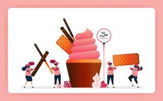 Illustration von Koch Halal süße Erdbeer Cupcakes. Muffin mit Snackwaffel, Schokoladenstäbchen und Waffel. Design kann für Website, Web, Landing Page, Banner, mobile Apps, Benutzeroberfläche, Poster, Flyer verwendet werden