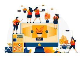 illustration av butik och hitta växter till bästa priser. e-handel och leveranstjänster med mobilappar. letar efter monstera växter online. målsidesmall för webb, webbplatser, webbplats, banner, flygblad vektor