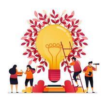 Vektor-Illustration der Inspiration für Teamarbeit, Kommunikation, Beleuchtung, Brainstorming und Wissen. Grafikdesign für Zielseite, Web, Website, mobile Apps, Banner, Vorlage, Poster, Flyer