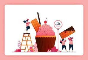 halal Nahrungsmittelmenüillustration des süßen Erdbeer-Cupcakes. Muffin mit Snackwaffel, Schokoladenstäbchen und Waffel. Design kann für Website, Web, Landing Page, Banner, mobile Apps, Benutzeroberfläche, Poster, Flyer verwendet werden