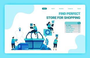 målsida i kundvagnen med människor runt omkring som vill shoppa. e-handel med leverans- och kartongtjänster. vektor illustration mall för webb, webbplatser, webbplats, banner, flygblad