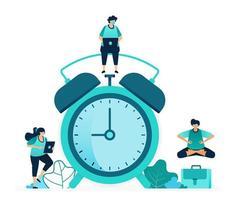 vektorillustration för att ställa in väckarklockan för att vakna på morgonen. schemaläggning och planera aviseringar. kvinnor och män arbetare. designad för webbplats, webb, målsida, appar, ui ux, affisch, flygblad