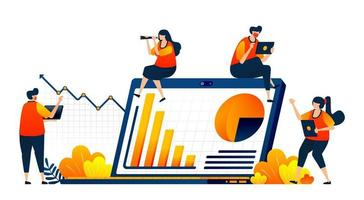 Personen, die die Unternehmensleistung mit Finanzdiagrammen und grafischen Berichten erfüllen. Das Vektorillustrationskonzept kann für Zielseite, Vorlage, Benutzeroberfläche, Web, mobile App, Poster, Banner, Website, Flyer verwendet werden vektor