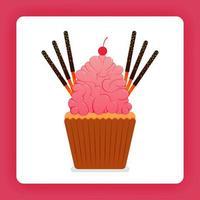 Illustration von Cupcake mit riesiger Erdbeer-Schlagsahne und extra Belag, sechs Schokoladenstäbchen und Kirschen. Design kann für Bücher, Flyer, Poster, Website, Web, Apps, Landing Page, Kochbuch sein