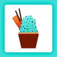 illustration av god cupcake med mynta wimpkräm med extra toppning av chokladchip, rån och chokladpinne. design kan vara för böcker, flygblad, affisch, webbplats, webb, appar, målsida, kokbok