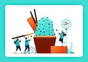 Lebensmittelillustration des Kochs halal süße Cupcakes. Muffins mit Sahne, Waffel, Schokoladenstückchen, Keks. Design kann für Website, Web, Landing Page, Banner, mobile Apps, Benutzeroberfläche, Poster, Flyer verwendet werden