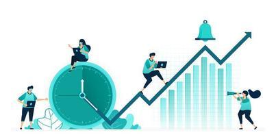 Vektor-Illustration von Stunden und Zeitplänen zur Verbesserung der Unternehmensleistung. Unternehmensgewinne steigen auf Chart. Arbeiterinnen und Arbeiter. Entwickelt für Website, Web, Landing Page, Apps ui ux, Poster Flyer vektor