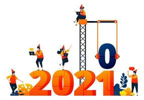 Neujahr 2020 bis 2021 mit Thema Bau und Bauindustrie. Das Vektorillustrationskonzept kann für Zielseite, Vorlage, Benutzeroberfläche, Web, mobile App, Poster, Banner, Website, Flyer verwendet werden vektor