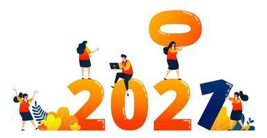 Countdown von 2020 bis 2021 mit dem Thema Teamarbeit im folgenden Jahr. Das Vektorillustrationskonzept kann für Zielseite, Vorlage, Benutzeroberfläche, Web, mobile App, Poster, Banner, Website, Flyer verwendet werden vektor