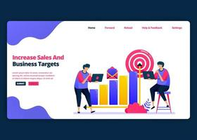 Vektor-Cartoon-Banner-Vorlage zur Steigerung der Umsatz- und Gewinnziele im Geschäft. Kreative Designvorlagen für Zielseiten und Websites für Unternehmen. kann für Web, mobile Apps, Poster, Flyer verwendet werden vektor