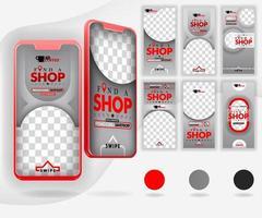 Fünf rote Mockup-Smartphones für Online-Werbung und Internet-Marketing mit 6 Vorlagen für soziale Medien können für Zielseite, Vorlage, Benutzeroberfläche, Web, mobile App, Poster, Banner, Flyer und Vektor verwendet werden