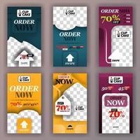 Social-Media-Swipe-Storys für Online-Werbung im Hintergrund und Online-Startup-Unternehmen. kann verwendet werden für, Landingpage, Website, mobile App, Poster, Flyer, Gutschein, Geschenkkarte, Smartphone, Webdesign vektor