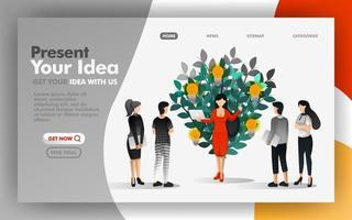 Vektorillustrationskonzept der Geschäftsfrau, die Ideen präsentiert, die anfangen zu wachsen. einfach zu bedienen für Website, Banner, Landing Page, Broschüre, Flyer, Print, Mobile, App, Poster, UI, Präsentation, Anzeigen vektor