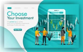 Wählen Sie eine gute Investition und speichern Sie das Vektorillustrationskonzept. Die Leute diskutieren miteinander, um Investitionsentscheidungen zu treffen. einfach zu bedienen für website, banner, seite, broschüre, druck, mobil, app, poster, ui ux vektor