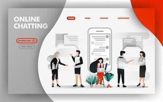 Vektor-Illustrationskonzept des Online-Chats. Menschen, die miteinander reden und Mädchen, die mit Online-Apps chatten. einfach zu bedienen für Website, Banner, Broschüre, Flyer, Print, Mobile, UI, Poster, Vorlage vektor