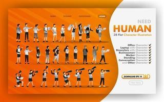 28 flache Cartoons zum Download Vektor-Web-Illustration, Sammlung von flachen menschlichen Illustrationen mit Themen von Büro, Mitarbeiter, Geschäft. kann für Website, Banner, Broschüre, Flyer, Print, Mobile verwendet werden vektor