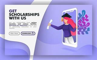 Vektor-Illustrationskonzept. blaues Website-Banner über Stipendienprogramme. Frauen mit Toga kommen aus dem Smartphone. Geeignet für Print, Online, Mobile Apps, Web, Landing Page. flacher Cartoon-Stil vektor