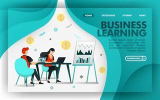 Vektor-Illustrationskonzept. grünes Website-Banner über Business Learning, Arbeiter lernen über Chart- und Verkaufswachstum. Geeignet für mobile Apps, Print, Online, UI, Poster, Seite, App. flacher Cartoon-Stil vektor