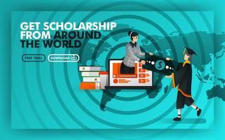 Vektor-Illustration grün Website-Banner über Stipendien aus der ganzen Welt erhalten. Junggeselle verdienen Geld von Frauen, die vor dem Hintergrund von Weltkarten und Rada aus dem Laptop kommen. flacher Stil vektor