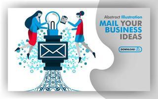 Vektor abstrakte Illustration Online-Medien, Apps und Druckseite mit Titel E-Mail Ihre Geschäftsideen in blau und weiß. Frau, die Glühbirne in E-Mail setzt, um Gewinn und Geld zu verdienen. flacher Cartoon-Stil