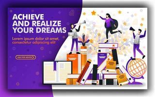 Die Vektorillustration der Bildung hilft Ihnen, Ihre Träume zu verwirklichen und zu verwirklichen. Stipendium zur Unterstützung der Bildung in der Welt. Lernprozess, der Ihre Zukunft bestimmt. Online-Lernen, um die Zukunft zu erreichen vektor