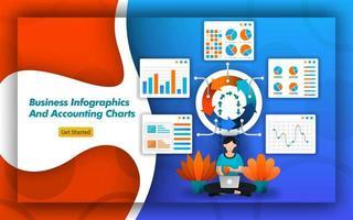 Designpakete für Business-Infografiken und Buchhaltungsdiagramme für Buchhaltungs-, Buchhaltungs- und Buchhaltungsunternehmen. Für Präsentationen in kleinen Unternehmen, einfach, aber modern. flacher Vektorstil vektor
