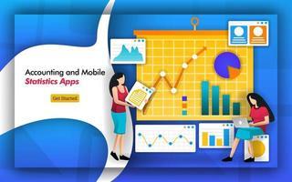 Buchhalter benötigen Statistiken für die Buchhaltung. Wirtschaftsprüfungsunternehmen verfügen über mobile Statistik-Apps zum Verwalten von Daten eines Unternehmens. Die Analyse umfasst Steuern, Gehaltsabrechnung, Finanzen, Einkommen und Datenfluss. flacher Vektorstil vektor